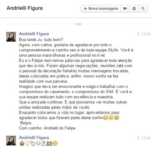 Agadecimento Andrielli e Felipe - New
