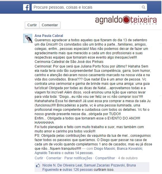Agradecimento dos Noivos Ana Paula e Diogo - New